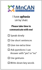 Aphasia Card